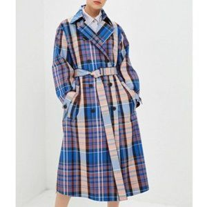 NWT Hugo Boss Plaid Long Duster Winter Trench Coat
